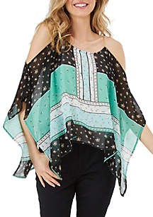 Petite Cold Shoulder Scarf Top