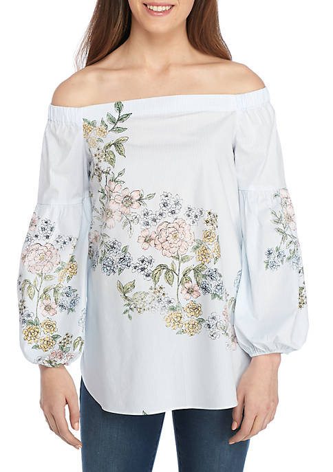 Kaari Blue™ Off Shoulder Lantern Sleeve Top