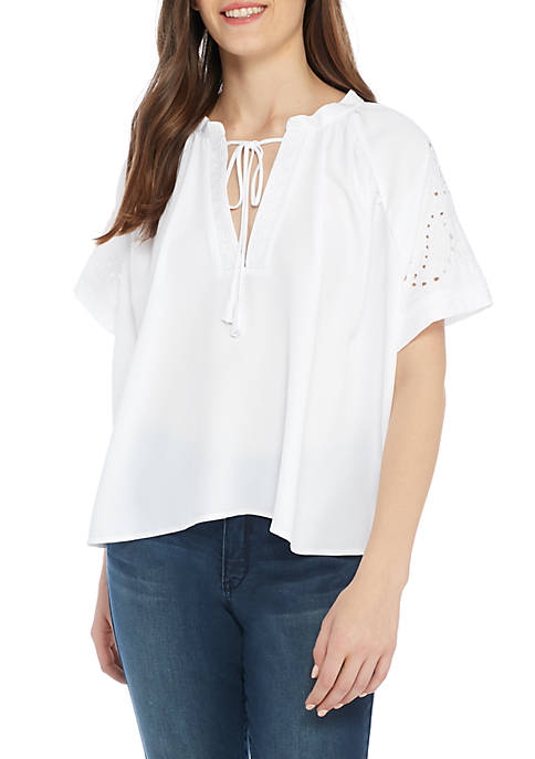 Kaari Blue™ Short Sleeve Crochet Cutout Peasant Top