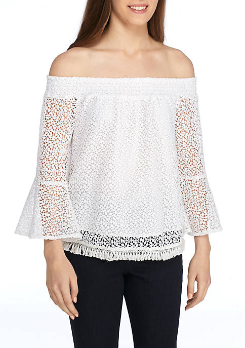 Kaari Blue™ Off-The-Shoulder Lace Flounce Sleeve Top