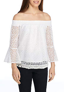 Off-The-Shoulder Lace Flounce Sleeve Top