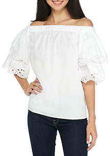 Off-The-Shoulder Embroidered Tiered Top