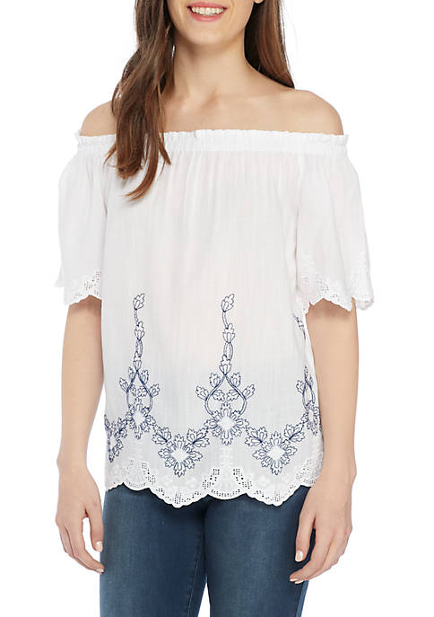 Kaari Blue™ Off-The-Shoulder Embroidered Short Sleeve Top