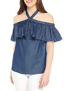 Cross Front Ruffle Halter Top