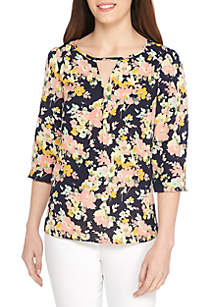 3/4 Sleeve Peasant Print Blouse