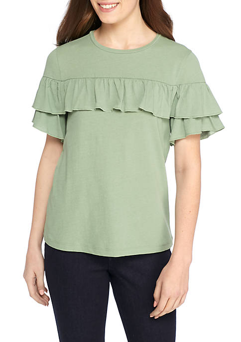 Kaari Blue™ Double Ruffle Crew Neck T-Shirt