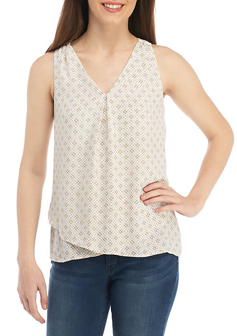 Kaari Blue™ Sleeveless Knit to Woven Swing Top