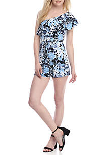 One Shoulder Print Romper