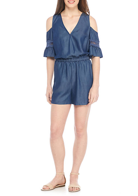 Kaari Blue™ Cold-Shoulder Flutter Sleeve Print Romper