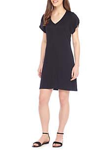 Short Sleeve V-Neck Solid Dress