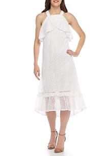 Halter Crossover Floral Dress