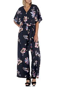 Short Kimono Sleeve V-Neck Jumpsuit