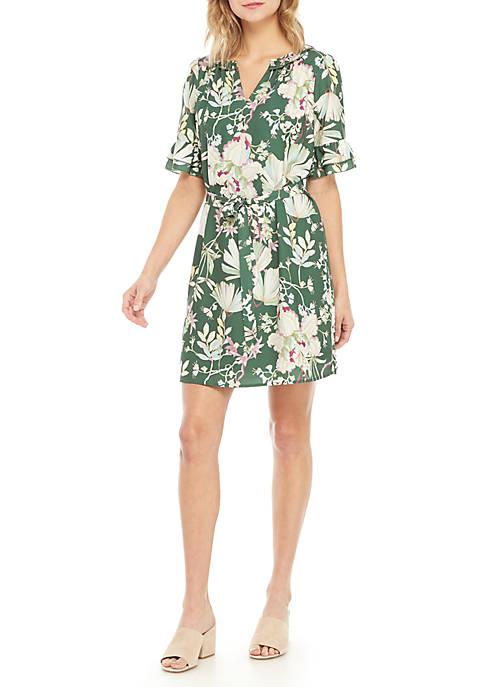 Short Sleeve Tie Waist Floral Dress
