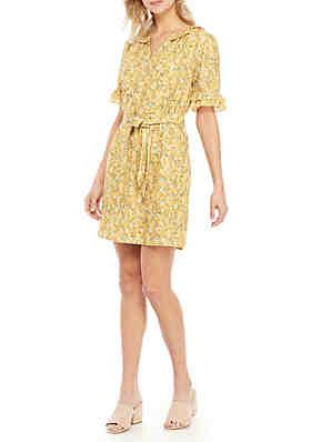 2ebc6d9604c Kaari Blue™ Short Sleeve Tie Waist Floral Dress ...