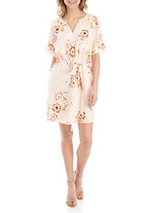 Kaari Blue™ Short Sleeve Tie Waist Floral Dress