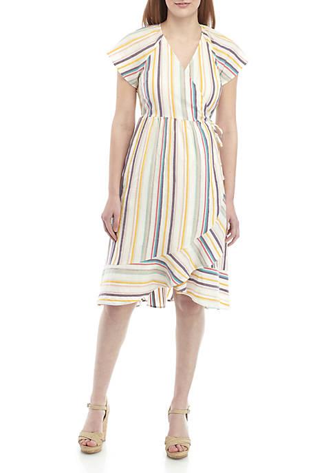 Kaari Blue™ Flutter Sleeve Wrap Dress