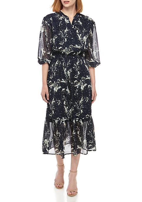 Split Neck Midi Peasant Dress