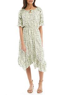 Kaari Blue™ Split Neck Handkerchief Hem Dress