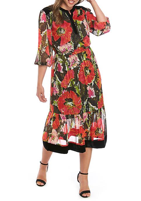 Kaari Blue™ Velvet Trim Midi Dress