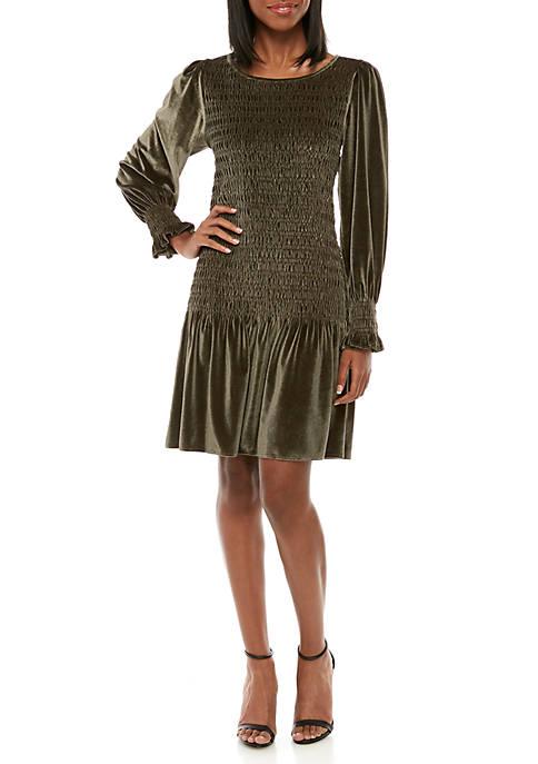 Womens Smocked Velvet Dress