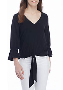 Tie Front V-Neck Flounce Sleeve Blouse