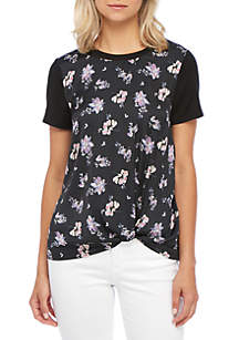 Short Sleeve Knot Front  Print Top