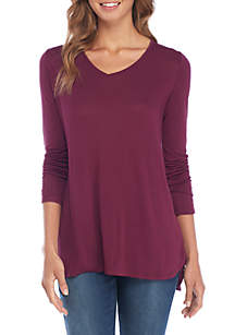 V-Neck High Low Tunic