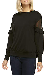 Ruffle Long Sleeve Sweatshirt