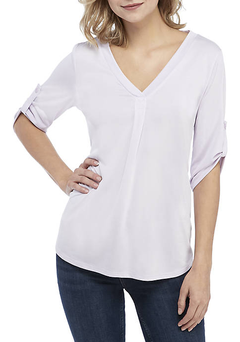 Kaari Blue™ 3/4 Sleeve V-Neck Placket Top