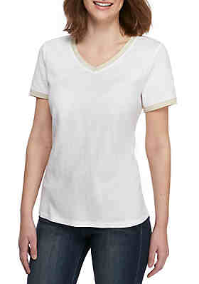 ad877aa5800222 Kaari Blue™ V Neck T Shirt with Trim ...