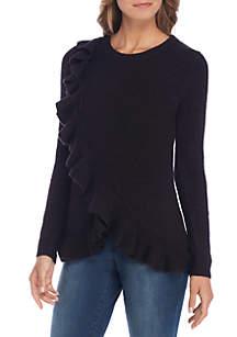 Asymmetrical Ruffle Peplum Sweater