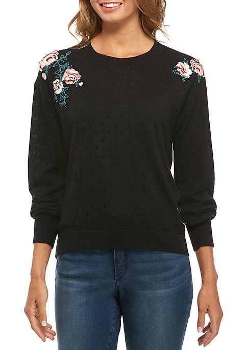 Kaari Blue™ Embroidered Bishop Sleeve Sweater