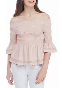 Smocked Cold Shoulder Top