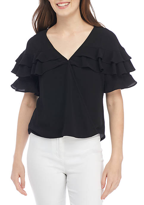 Kaari Blue™ Short Sleeve Ruffle Wrap Top
