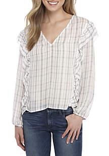 Long Sleeve V-Neck Ruffle Top