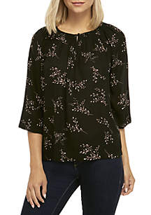 Long Sleeve Woven Peasant Top