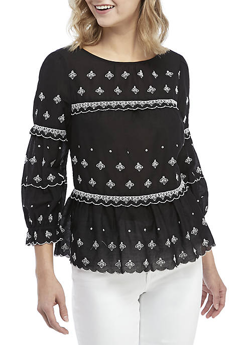 3/4 Sleeve Embroidered Top