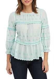Kaari Blue™ 3/4 Sleeve Embroidered Top