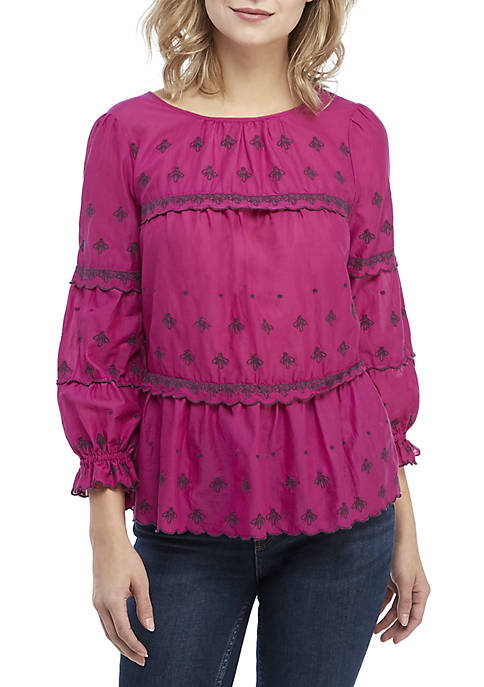 Kaari Blue™ 3/4 Sleeve Embroidered Top