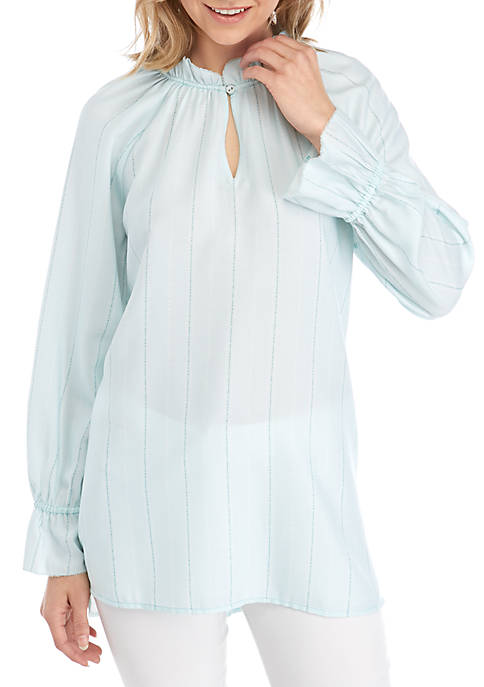 Kaari Blue™ Womens Long Sleeve Ruffle Tunic Top