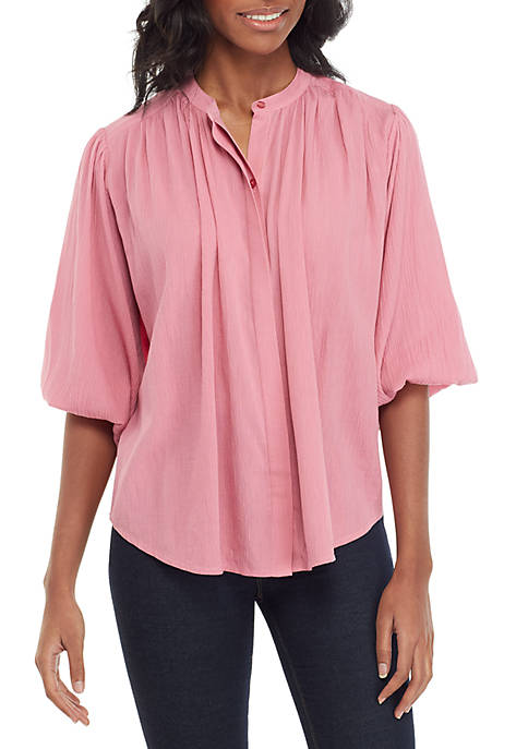 Womens Button Front Peasant Blouse