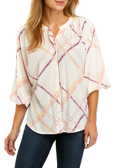 3/4 Sleeve Button Peasant Top