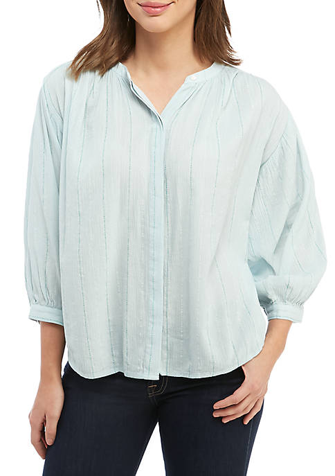 Kaari Blue™ 3/4 Sleeve Button Peasant Top