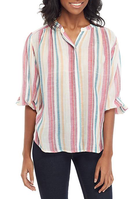 Kaari Blue™ 3/4 Sleeve Button Peasant Top