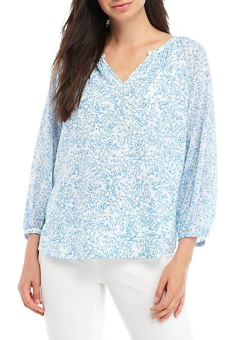 Kaari Blue™ 3/4 Sleeve Peasant Top