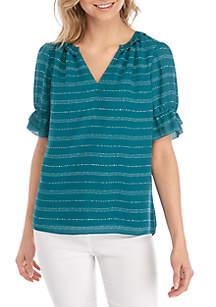 Kaari Blue™ Short Ruffle Sleeve V Neck Top