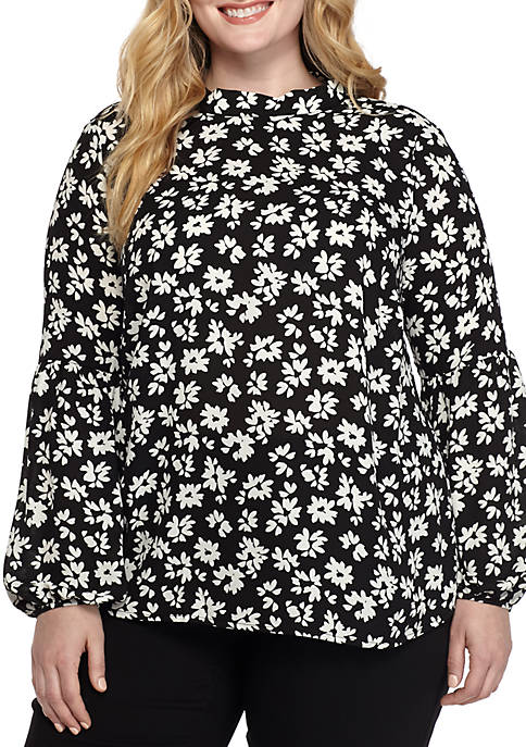 Plus Size Bow Back High Neck Top