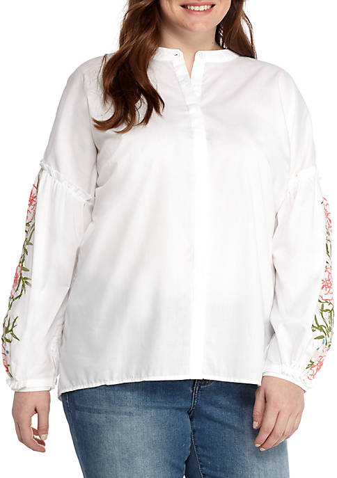 Kaari Blue™ Plus Size Long Sleeve Embroidered Shirt