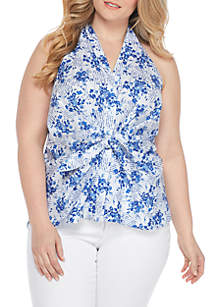 Plus Size Knot Front Halter Top