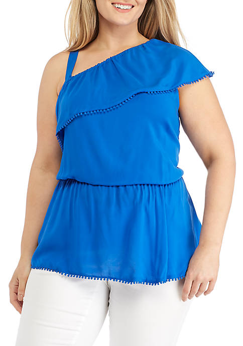 Kaari Blue™ Plus Size One-Shoulder Ruffle Top